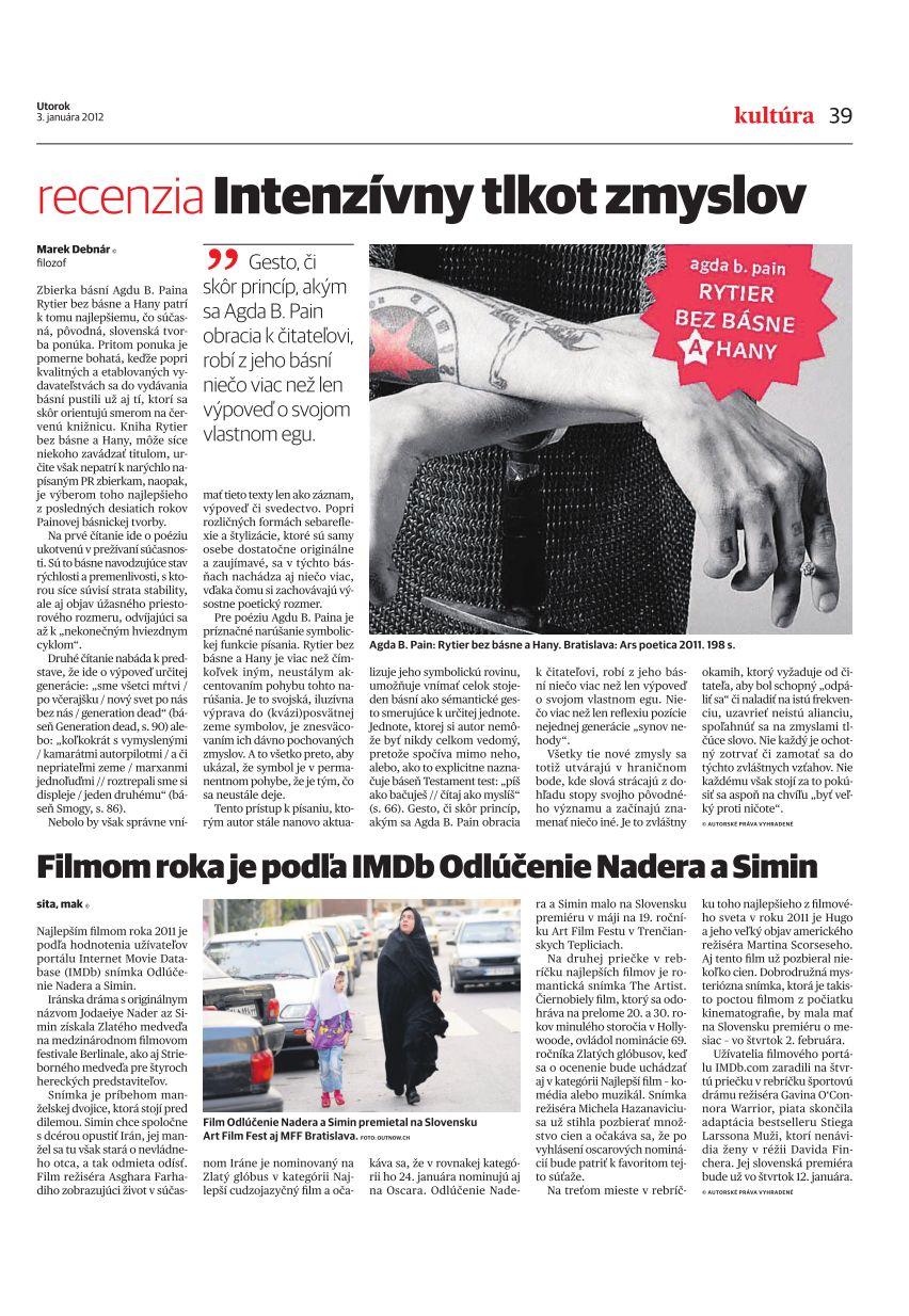 Agda Bavi Pain: Rytier bez básne a Hany | RECENZIA Pravda 3. jan 2012